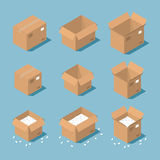 Isometric parcel box. Vector isometric cardboard box set. Collection of isometric cardboard boxes of different types - open box, closed box, boxes with a postal Royalty Free Stock Photo