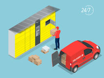 Isometric Parcel Delivery Lockers. Self-service. Express Delivery. This service provides an alternative to home delivery. For online purchases Royalty Free Stock Photos