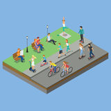 Isometric park activity Stock Images