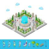 Isometric park miasto jak park aktywny zaludniać zaludnia royalty ilustracja