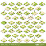 Isometric park walkway street vector building bloc. Isometric park walkway street square building block vector icon set. Flat 3d isometry green grass city object Stock Photography
