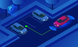Isometric Parking Assist System vector illustration. Car technology with sensors . Sensors scanning free space to park