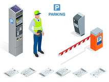 Isometric Parking Attendant. Parking ticket machines and barrier gate arm operators are installed at the entrance and. Exit of parking area as tools to charge Stock Images