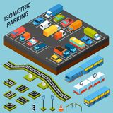 Isometric Parking Elements Royalty Free Stock Images