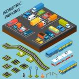 Isometric parking elementy royalty ilustracja