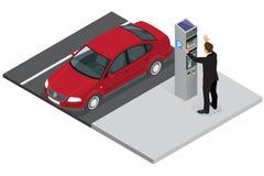 Isometric Parking meter. Parking meter did not give ticket. Parking meter error. Parking meter breaking. Flat 3d Stock Image