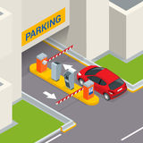 Isometric Parking payment station, access control concept. Parking ticket machines and barrier gate arm operators are Royalty Free Stock Images