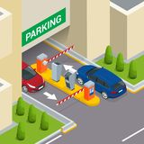 Isometric Parking payment station, access control concept. Parking ticket machines and barrier gate arm operators are Stock Photography