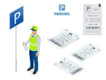 Isometric parking posługacz Mandat za złe parkowanie maszyny i bariery bramy ręki operatorzy instalują przy wejściem i Zdjęcie Royalty Free