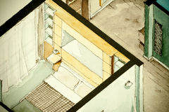Isometric partial architectural watercolor drawing of apartment floor plan. Isometric partial architectural watercolor drawing of apartment condo flat bedroom Stock Photography