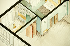 Isometric partial architectural watercolor drawing of apartment floor plan Stock Image