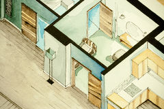 Isometric partial architectural watercolor drawing of apartment floor plan, symbolizing artistic approach to real estate business. Isometric partial Royalty Free Stock Photography