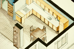 Isometric partial architectural watercolor drawing of apartment floor plan, symbolizing artistic approach to real estate business. Isometric partial Stock Photos