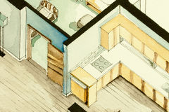 Isometric partial architectural watercolor drawing of apartment floor plan, symbolizing artistic approach to real estate business Royalty Free Stock Photo
