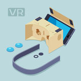 Isometric parts of the cardboard virtual reality Royalty Free Stock Image