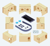 Isometric parts of the cardboard virtual reality Royalty Free Stock Photos