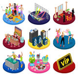 Isometric Party Concept. Night Club Dancing, Disco DJ, Corporate Celebration. Vector flat 3d illustration Stock Illustration