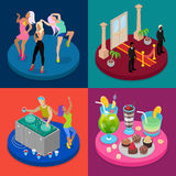 Isometric Party Concept. Night Club, Disco DJ, Dancing Woman. Vector flat 3d illustration Vector Illustration