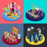 Isometric Party Concept. Night Club Scene, Bar, Corporate Celebration. Vector flat 3d illustration Vector Illustration