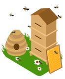 Isometric pasieka set Pasieka banka ilustracyjne Miodowe ilustracje pszczoły, miód, miodowy bank, honeycomb Zdjęcie Stock