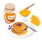 Isometric pasieka set Pasieka banka ilustracyjne Miodowe ilustracje pszczoły, miód, miodowy bank, honeycomb Obrazy Stock
