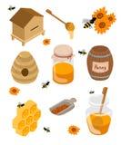 Isometric pasieka set Pasieka banka ilustracyjne Miodowe ilustracje pszczoły, miód, miodowy bank, honeycomb Zdjęcia Royalty Free
