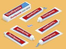 Isometric pasta do zębów na tle i Toothbrush ilustracji