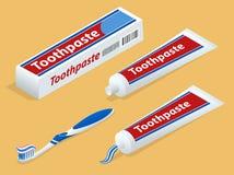 Isometric pasta do zębów na tle i Toothbrush royalty ilustracja