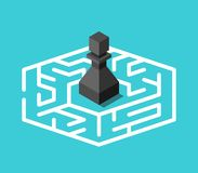 Isometric pawn inside maze. Isometric black chess pawn standing lost in centre of maze on turquoise blue background. Confusion, problem and mystery concept. Flat vector illustration