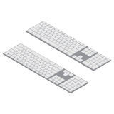 Isometric PC keyboards. Objects isolated. White wireless computer keyboard Isometric Vector Illustration Stock Photography