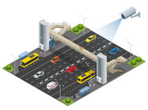 Isometric pedestrian bridge with a lift over the highway. Set of the isometric pedestrian bridge with a lift, bus, sedan Stock Image