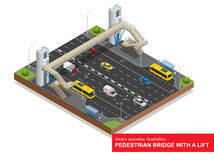 Isometric pedestrian bridge with a lift over the highway. Set of the isometric pedestrian bridge with a lift, bus, sedan Stock Photography