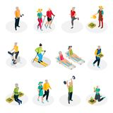 Isometric Pensioner Life Collection. With sport exercises skiing walking gardening and beach vacation isolated vector illustration Stock Photography