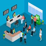 Isometric People In Bank Office Concept. With workers clients and different financial services vector illustration Stock Photos