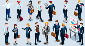 Isometric People Boss Deal Icon 3D Set Vector Illustration. Trendy 3D isometric group of isolated bank business people. Employee desk staff character icon set Stock Image