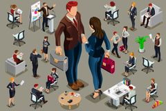 Isometric people in business suit. Businessmen people in dark suit, isometric people in dark business suit Royalty Free Stock Images