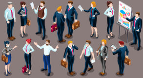 Isometric People Business Suit 3D Icon Set Vector Illustration. Isometric people isolated meeting staff infographic. 3D Isometric boss person icon set. Creative Stock Photo