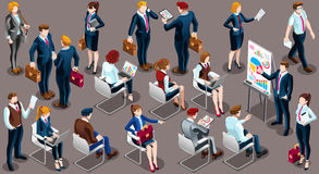 Isometric People Businessmen 3D Icon Set Vector Illustration. Isometric people isolated meeting staff infographic. 3D Isometric boss person icon set. Creative Royalty Free Stock Images