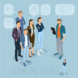 Isometric people communicating. Isometric 3d flat design vector people communicating in office business people different characters, styles and professions stock illustration