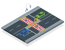 Free Isometric People Cross The Road At A Pedestrian Crossing. A Disabled Man In A Wheelchair Crosses The Street. Royalty Free Stock Photo - 160056835