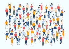 Isometric people crowd. Large people group, different male and female characters, business audience concept. Vector