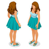 Isometric people 3d flat girl with long wavy hair standing in blue summer dress Royalty Free Stock Photography