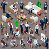 Isometric People Diverse Business Icon 3D Set Vector Illustratio. Isolated Group of Diverse Isometric Business People. 3D meeting infograph crowd with standing Stock Photography