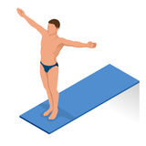 Isometric people diving into water in to the swimming pool, diver. Female swimmer, that jumping and diving into indoor Stock Photo