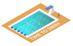 Isometric people diving into water in to the swimming pool, diver. Male swimmer, that jumping and diving into indoor Royalty Free Stock Photos