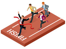 Isometric people. Entrepreneur businessman leader. Businessman and his business team crossing finish line and tearing Stock Photo
