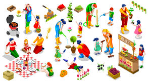 Isometric People Family Plant Tree Icon Set Vector Illustration. Farmer Man and Kids Planting Tree. 3D Isometric People Country Family Icon Set. Outdoor Family Stock Photo