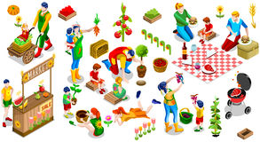 Isometric People Family Tree Plant Icon Set Vector Illustration. Farmer Man and Kids Planting Tree. 3D Isometric People Country Family Icon Set. Outdoor Family vector illustration