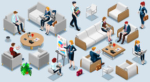 Isometric People Financial 3D Icon Set Vector Illustration. Isometric people isolated meeting staff infographic. 3D Isometric boss person icon set. Creative Royalty Free Stock Photo