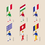 Isometric people with flag France, Romania, Hungary, Italy, Swit. Set of isometric 3d people with flags. Standard bearers - France, Romania, Hungary, Italy Stock Photos